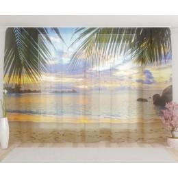 """ФотоТюль широкий """"Райский пляж"""""""
