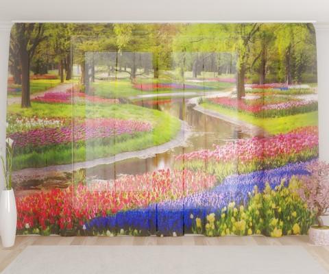 """ФотоТюль широкий """"Сад в цветах"""""""