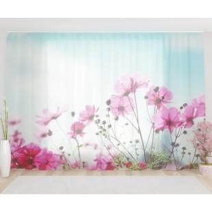 """ФотоТюль широкий """"Утренние полевые цветы"""""""