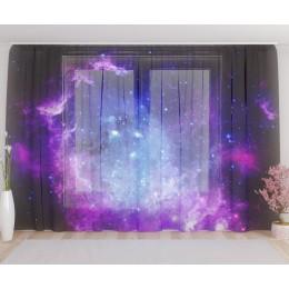 """ФотоТюль широкий """"Фиолетовое звёздное небо"""""""