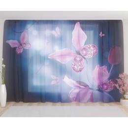 """ФотоТюль широкий """"Фиолетовые бабочки в сумраке"""""""