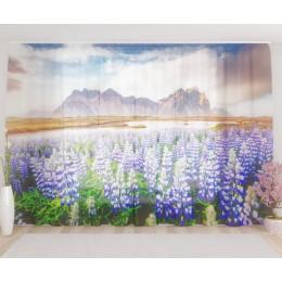 """ФотоТюль широкий """"Цветочная долина в горах"""""""