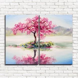 "Модульная картина ""Дерево розовое 2"""