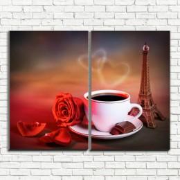 """Модульная картина """"Кофе в Париже 2"""""""