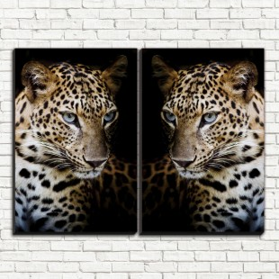 """Модульная картина """"Леопард на черном 2"""""""