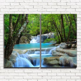 """Модульная картина """"Лесной водопад 2"""""""