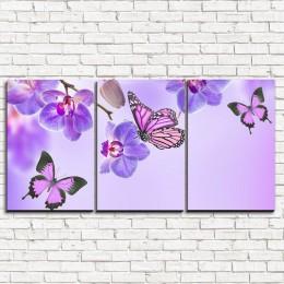"""Модульная картина """"Бабочки у воды с орхидеями 3-1"""""""