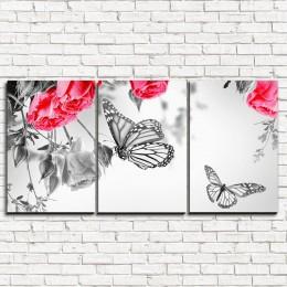 """Модульная картина """"Розы на черно-белом 3-1"""""""