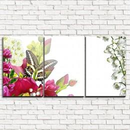 """Модульная картина """"Букет цветов с бабочками 3-1"""""""