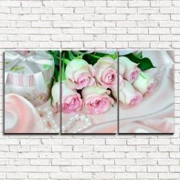 """Модульная картина """"Шелковые розы 3-1"""""""