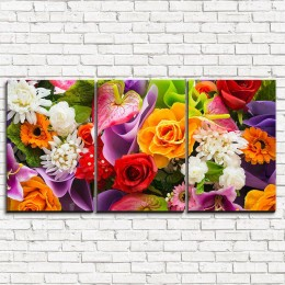 """Модульная картина """"Яркий букет цветов 3-1"""""""