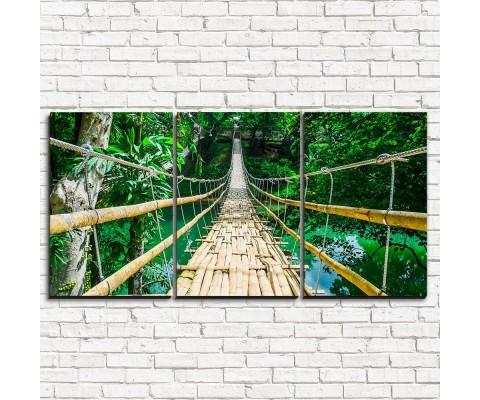 """Модульная картина """"Бамбуковый мост 3-1"""""""
