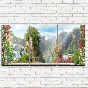 """Модульная картина """"Вид на горы 3-1"""""""