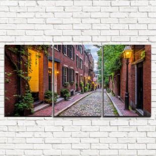 """Модульная картина """"Улица в Бостоне 3-1"""""""