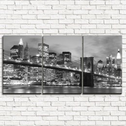 """Модульная картина """"Бруклинский мост черно-белый 3-1"""""""