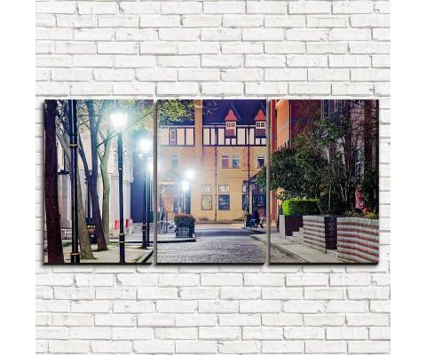 """Модульная картина """"Вечерняя улица 3-1"""""""