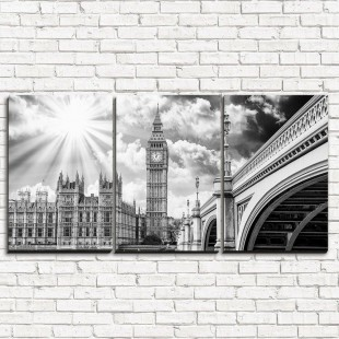 """Модульная картина """"Лондон черно-белый 3-1"""""""