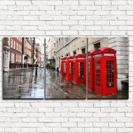 """Модульная картина """"Лондонские телефоны 3-1"""""""