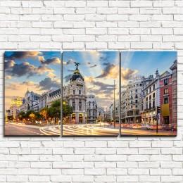 """Модульная картина """"Мадрид в сумерках 3-1"""""""