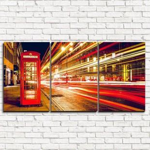 """Модульная картина """"Ночные улицы Лондона 3-1"""""""