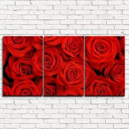 """Модульная картина """"Красные розы 3-1"""""""