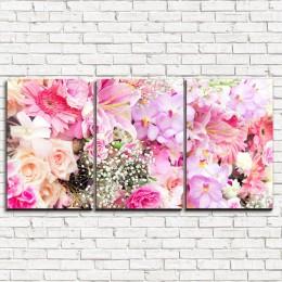"""Модульная картина """"Насыщенные розы 3-1"""""""