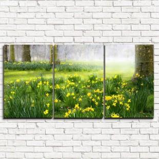 """Модульная картина """"Нарциссы в лесу 3-1"""""""
