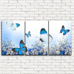 """Модульная картина """"Голубые бабочки 3-1"""""""