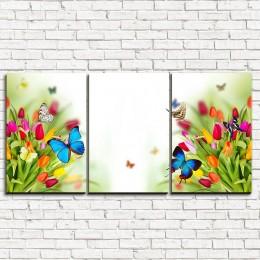 "Модульная картина ""Бабочки на тюльпанах 3-1"""