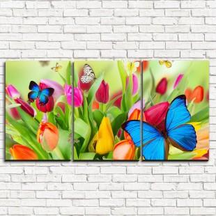 "Модульная картина ""Бабочки на цветах 3-1"""