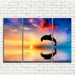 """Модульная картина """"Дельфин на закате 3-2"""""""