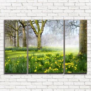 """Модульная картина """"Нарциссы в лесу 3-2"""""""