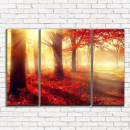 """Модульная картина """"Красный лес 3-2"""""""