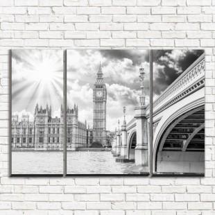 """Модульная картина """"Лондон черно-белый 3-2"""""""