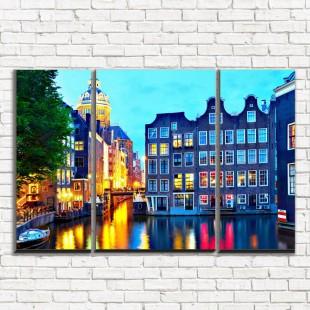 """Модульная картина """"Церковь в Амстердаме 3-2"""""""