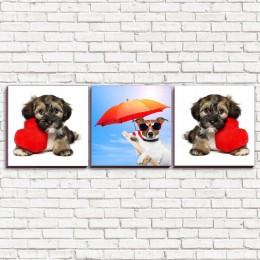 """Модульная картина """"Собака в отпуске и с сердцем 3-3"""""""