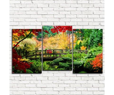 """Модульная картина """"Мост в саду 3-5"""""""