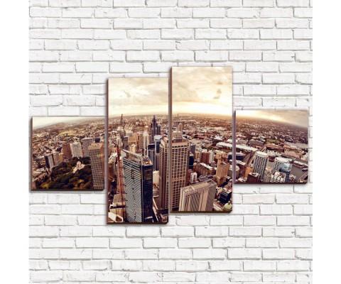 """Модульная картина """"Город с высока Арт 4"""""""