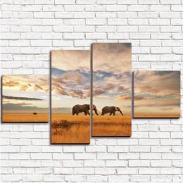 """Модульная картина """"Слоны на прогулке 4"""""""