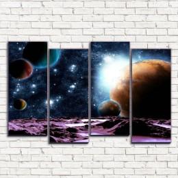 """Модульная картина """"Путешествие к планетам 4-2"""""""