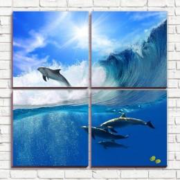 """Модульная картина """"Дельфины 4-3"""""""