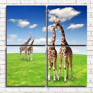 """Модульная картина """"Жирафы на лугу 4-3"""""""