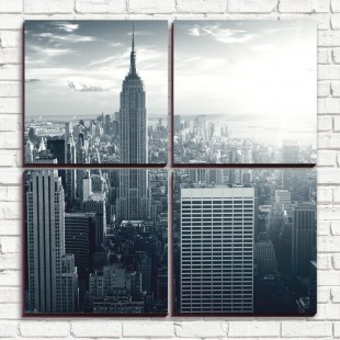 """Модульная картина """"Нью-Йорк черно-белый 4-3"""""""