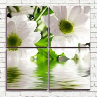 """Модульная картина """"Белые цветы 4-3"""""""