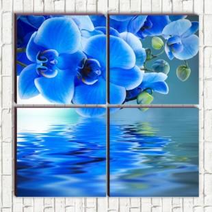 """Модульная картина """"Голубые орхидеи 4-3"""""""