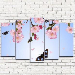 """Модульная картина """"Бабочки и цветы 5"""""""