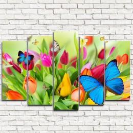 "Модульная картина ""Бабочки на цветах 5"""