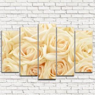 """Модульная картина """"Бежевые розы 5"""""""