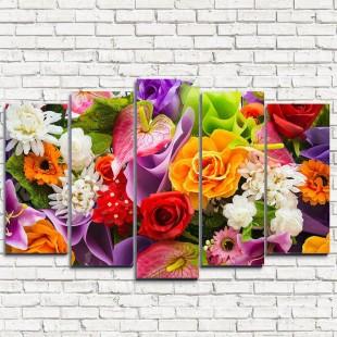 """Модульная картина """"Яркий букет цветов 5"""""""