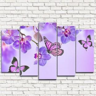 """Модульная картина """"Бабочки у воды с орхидеями 5"""""""